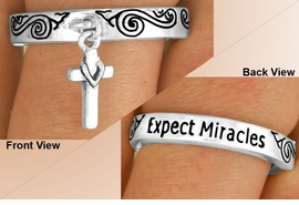 "<BR>             EXCLUSIVELY OURS!!!<Br>        AN ALLAN ROBIN DESIGN!<Br>W11894R - ""EXPECT MIRACLES""<br>  & CROSS DROP STRETCH RING<BR>             FROM $2.25 TO $5.00"