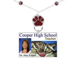 <Br>             EXCLUSIVELY OURS!!<Br>        AN ALLAN ROBIN DESIGN!<br>W12163EH - MAROON PAW PRINT <Br>      I.D. TAG/EYEGLASS HOLDER<Br>                  AS LOW AS $3.50