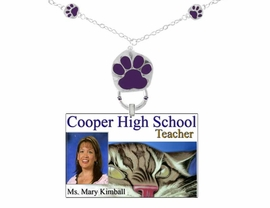 <Br>             EXCLUSIVELY OURS!!<Br>        AN ALLAN ROBIN DESIGN!<br>W12165EH - PURPLE PAW PRINT <Br>     I.D. TAG/EYEGLASS HOLDER<Br>                AS LOW AS $3.50