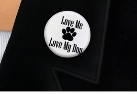 "<bR>                EXCLUSIVELY OURS!!<BR>          AN ALLAN ROBIN DESIGN!!<BR>W19336P -  ""LOVE ME LOVE MY DOG"" <BR>           CLEAR FINISH TACK PIN <br>      FROM $1.28 TO $3.25 �2012"