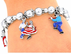 <bR>         EXCLUSIVELY OURS!!!<Br>    AN ALLAN ROBIN DESIGN!<Br>W4039B - SQUARE DANCING<bR>  STRETCH CHARM BRACELET<br>         FROM $5.06 TO $11.25