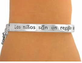 "<BR>              EXCLUSIVELY OURS!<bR>       AN ALLAN ROBIN DESIGN!!<br>  W5281B - ""LOS NIÑOS SON UN<bR>REGALO DE DIOS"" SILVER FINISH<Br>  PANORAMIC SPANISH STRETCH<BR>          BRACELET ©2010 FROM<Br>                    $3.94 TO $8.75"