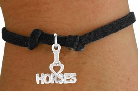 """<bR>             EXCLUSIVELY OURS!!<BR>            CHILDREN'S BRACELET<br>CLICK HERE TO SEE 750+ EXCITING<BR>   CHANGES THAT YOU CAN MAKE!<BR>            LEAD & NICKEL FREE!!<BR>   W379SCB - """"I LOVE HORSES"""" &<BR>  BRACELET FROM $4.50 TO $8.35"""