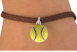 <bR>               EXCLUSIVELY OURS!!<BR>CLICK HERE TO SEE 120+ EXCITING<BR>   CHANGES THAT YOU CAN MAKE!<BR>              LEAD & NICKEL FREE!!<BR>      W527SB - YELLOW SOFTBALL<Br>    ON BRACELET AS LOW AS $4.50 TO $8.35
