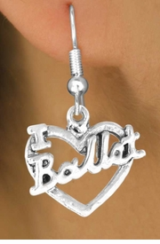 "<bR>             EXCLUSIVELY OURS!!<BR>CLICK HERE TO SEE 65+ EXCITING<BR> CHANGES THAT YOU CAN MAKE!<BR>            LEAD & NICKEL FREE!!<BR>     W412SE - ""I LOVE BALLET"" &<Br>      & EARRING FROM $3.25 TO $8.00"