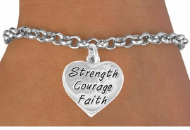 "<bR>             EXCLUSIVELY OURS!!<BR>CLICK HERE TO SEE 65+ EXCITING<BR> CHANGES THAT YOU CAN MAKE!<BR>            LEAD & NICKEL FREE!!<BR>W423SB - ""STRENGTH COURAGE<BR>       FAITH"" HEART & BRACELET<Br>              FROM $3.25 TO $7.50"