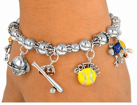 "<BR>            ""EXCLUSIVELY OURS""<BR>              COPYRIGHTED 2003<Br>           LEAD & NICKEL FREE!!<Br>      AN ALLAN ROBIN DESIGN!!<BR>  W2175B-NEW! ""GIRLS SOFTBALL""<BR>STRETCH BRACELET AS LOW AS $4.95"