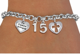 "<bR>                EXCLUSIVELY OURS!!<Br>               LEAD & NICKEL FREE!!<BR>W19819B - QUINCEAÑERA 15 THEMED <Br>SILVER TONE CHARM BRACELET WITH <BR>  ""FE FAMILIA AMIGOS"" HEART AND <BR>   CHRISTIAN CROSS HEART CHARMS <BR>               FROM $4.50 TO $10.00"