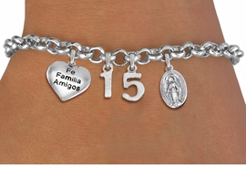 "<bR>                EXCLUSIVELY OURS!!<Br>               LEAD & NICKEL FREE!!<BR>W19821B - QUINCEAÑERA 15 THEMED <Br>SILVER TONE CHARM BRACELET WITH <BR>  ""FE FAMILIA AMIGOS"" HEART AND <BR>SILVER TONE VIRGIN MARY CHARMS <BR>               FROM $4.50 TO $10.00"