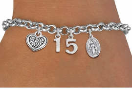 <bR>                EXCLUSIVELY OURS!!<Br>               LEAD & NICKEL FREE!!<BR>W19823B - QUINCEAÑERA 15 THEMED <Br>SILVER TONE CHARM BRACELET WITH <BR>DETAILED ANTIQUED SCRIPT HEART AND <BR>SILVER TONE VIRGIN MARY CHARMS <BR>               FROM $4.50 TO $10.00