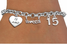 "<bR>                EXCLUSIVELY OURS!!<Br>               LEAD & NICKEL FREE!!<BR>W19825B - QUINCEAÑERA 15 THEMED <Br>SILVER TONE CHARM BRACELET WITH <BR>NUMBER ""15"", A ""TE AMO"" HEART AND <BR>   A BEAUTIFUL""PRINCESS"" CHARM <BR>               FROM $4.50 TO $10.00"