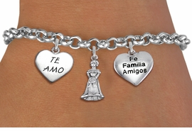 "<bR>                EXCLUSIVELY OURS!!<Br>               LEAD & NICKEL FREE!!<BR>W19826B - QUINCEAÑERA 15 THEMED <Br>SILVER TONE CHARM BRACELET WITH <BR>QUINCEANERA GIRL, ""TE AMO"" AND <BR> ""FE FAMILIA AMIGOS"" HEART CHARMS <BR>               FROM $4.50 TO $10.00"