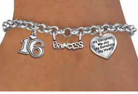 "<bR>                EXCLUSIVELY OURS!!<Br>               LEAD & NICKEL FREE!!<BR>W19828B - SWEET SIXTEEN 16 THEMED <Br>SILVER TONE CHARM BRACELET WITH <BR>""16"" CHARM AND ""PRINCESS"" CHARM <BR>WITH ""MY DAUGHTER..."" HEART CHARM <BR>               FROM $4.50 TO $10.00"