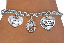 "<bR>                EXCLUSIVELY OURS!!<Br>               LEAD & NICKEL FREE!!<BR>W19830B - SWEET SIXTEEN 16 THEMED <Br>SILVER TONE CHARM BRACELET WITH <BR>""SWEET 16""CHARM, ""..ALWAYS LOVE YOU"" <BR>AND ""MY DAUGHTER..."" HEART CHARMS <BR>               FROM $4.50 TO $10.00"