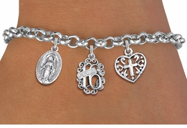 "<bR>                EXCLUSIVELY OURS!!<Br>               LEAD & NICKEL FREE!!<BR>W19831B - SWEET SIXTEEN 16 THEMED <Br>SILVER TONE CHARM BRACELET WITH <BR>""SWEET 16"" AND VIRGIN MARY CHARMS <BR>WITH SCRIPT CROSS HEART CHARM <BR>               FROM $4.50 TO $10.00"