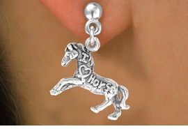 "<bR>                   EXCLUSIVELY OURS!!<Br>                  LEAD & NICKEL FREE!!<BR>   W247SE - ""I LOVE HORSES"" HORSE<Br>CHARM & EARRINGS FROM $3.25 TO $8.00"