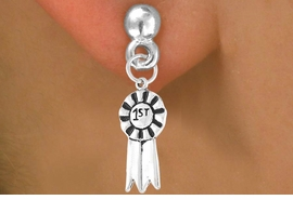 "<bR>          EXCLUSIVELY OURS!!<Br>         LEAD & NICKEL FREE!!<BR>     W332SE - ""1ST"" RIBBON<Br>& EARRINGS FROM $3.25 TO $8.00"