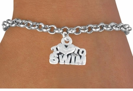 "<bR>        EXCLUSIVELY OURS!!<Br>       LEAD & NICKEL FREE!!<BR>W334SB - ""I LOVE TO SWIM""<Br> BRACELET AS LOW AS $3.25"