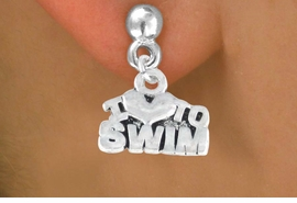 "<bR>         EXCLUSIVELY OURS!!<Br>        LEAD & NICKEL FREE!!<BR>W334SE - ""I LOVE TO SWIM""<Br> EARRINGS FROM $3.25 TO $8.00"