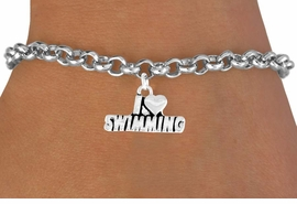 "<bR>            EXCLUSIVELY OURS!!<Br>           LEAD & NICKEL FREE!!<BR>W336SB - ""I LOVE SWIMMING""<Br>    BRACELET AS LOW AS $3.25"