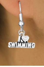 "<bR>          EXCLUSIVELY OURS!!<Br>         LEAD & NICKEL FREE!!<BR>W336SE - ""I LOVE SWIMMING""<Br>   EARRINGS FROM $3.25 TO $8.00"