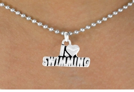 "<bR>           EXCLUSIVELY OURS!!<Br>          LEAD & NICKEL FREE!!<BR>W336SN - ""I LOVE SWIMMING""<Br>   NECKLACE AS LOW AS $3.65"