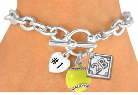 "<Br>               EXCLUSIVELY OURS!<BR>W19362B - POLISHED SILVER TONE<br>""#1"" HEART,  YELLOW SOFTBALL & <BR>  PLAYERS  POSITION ON DIAMOND <br> 3 CHARMS AND TOGGLE BRACELET <Br>               FROM $4.50 TO $10.00"