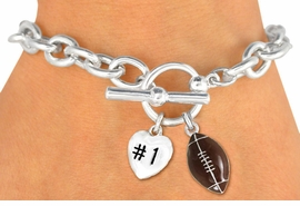 "<Br>                 EXCLUSIVELY OURS!<BR>  W19371B - POLISHED SILVER TONE<br> ""#1"" HEART & FOOTBALL CHARM<br>           TOGGLE BRACELET FROM<Br>                      $3.60 TO $8.00"