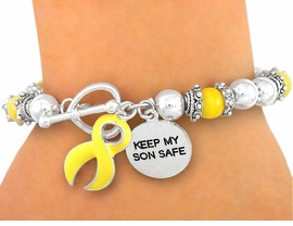 "<Br>                     EXCLUSIVELY OURS!!<Br>W5018B - ""KEEP MY SON SAFE"" CHARM<Br>     & YELLOW ""SUPPORT OUR TROOPS""<bR>   RIBBON CAT'S EYE STRETCH/TOGGLE<Br> BRACELET©2005 FROM $2.25 TO $5.00"