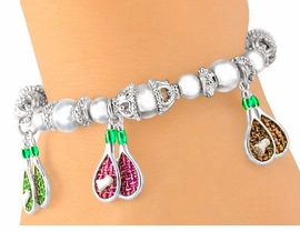 <Br>                  EXCLUSIVELY OURS!!!<Br>W5448B - MULTICOLOR BADMINTON<Br>   RACKET & BIRDIE CHARM STRETCH<Br>          BRACELET AS LOW AS $3.90