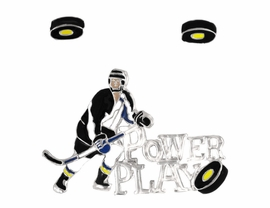 "<Br>                    EXCLUSIVELY OURS!!!<bR>    W8300PE - POLISHED SILVER TONE<Br>""POWER PLAY"" HOCKEY PENDANT/PIN<Br>       & EARRING SET AS LOW AS $2.40"