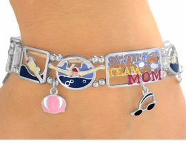 "<Br>                EXCLUSIVELY OURS!<br>W9494B - POLISHED SILVER TONE<br>     ""SWIM TEAM MOM"" STRETCH<Br>  BRACELET FROM $4.50 TO $10.00"