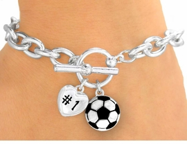 "<Br>                 EXCLUSIVELY OURS! <BR>  W9708B - POLISHED SILVER TONE<br>""#1"" HEART & SOCCER BALL CHARM<br>            TOGGLE BRACELET FROM<Br>                      $3.60 TO $8.00"