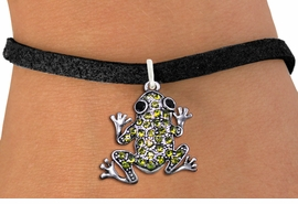 <BR>                      FROG JEWELRY<bR>                EXCLUSIVELY OURS!! <Br>           AN ALLAN ROBIN DESIGN!! <BR>  CLICK HERE TO SEE 1000+ EXCITING <BR>        CHANGES THAT YOU CAN MAKE! <BR>     LEAD, NICKEL & CADMIUM FREE!! <BR> W1442SB - SILVER TONE, JET AND LIME <BR> GREEN CRYSTAL FROG CHARM & BRACELET <BR>         FROM $5.15 TO $9.00 �2013