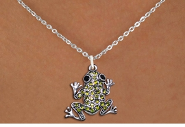 <BR>                      FROG NECKLACE<bR>                   EXCLUSIVELY OURS!! <Br>              AN ALLAN ROBIN DESIGN!! <BR>     CLICK HERE TO SEE 1000+ EXCITING <BR>           CHANGES THAT YOU CAN MAKE! <BR>        LEAD, NICKEL & CADMIUM FREE!! <BR> W1442SN - SILVER TONE WITH LIME GREEN <BR>    CRYSTAL FROG CHARM AND NECKLACE <BR>            FROM $5.55 TO $9.00 �2013