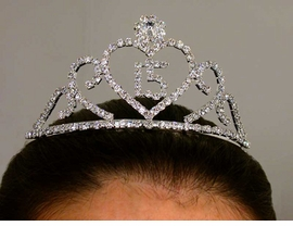 <BR> LEAD AND NICKEL FREE  <BR> S1067T- NEW! ELEGANT<BR>   QUINCEANERA TIARA<BR> FROM $13.50 TO $30.00