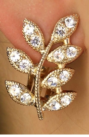 <BR>           LEAD AND NICKEL FREE!!<bR>W11576E - POLISHED GOLD FINISH<br>GENUINE AUSTRIAN CRYSTAL LEAF<BR>         CLIP-ON EARRINGS FROM<br>                      $6.19 TO $13.75