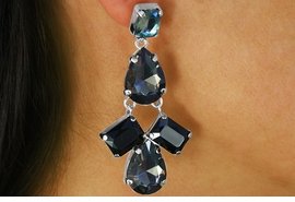 <BR>              LEAD AND NICKEL FREE<BR> W17337E - SILVER TONE AND TEAL <BR>     FACETED STONE CHANDELIER <BR>    EARRING FROM $6.19 TO $13.75