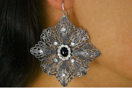 <BR>             LEAD AND NICKEL FREE    <BR>W17358E - DETAILED ANTIQUE SILVER <BR> EARRINGS WITH BLACK AND CRYSTAL <BR>         ACCENTS FROM $3.35 TO $6.75