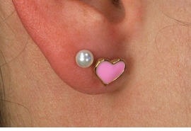<Br>   LEAD NICKEL & CADMIUM FREE!!<Br> W18945E - 2 PAIR SET MINIATURE <BR>   PINK HEART AND FAUX PEARL<Br>     EARRINGS FROM $3.35 TO $7.50