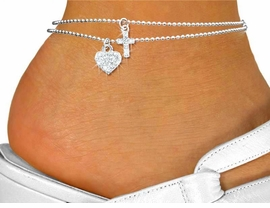 <Br>      LEAD, NICKEL & CADMIUM FREE!!!<BR>W19263AK - GENUINE AUSTRIAN CRYSTAL <br>SILVER TONE CROSS AND HEART CHARMS<Br>DOUBLE-STRAND ANKLET FROM $2.25 TO $5.00