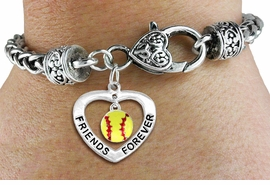 "<Br>           LEAD & NICKEL FREE!!<Br>      AN ALLAN ROBIN DESIGN!!<BR>W19911B - ""FRIENDS FOREVER"" HEART  <Br>WITH SOFTBALL MINI-CHARM ON <BR>HEART LOBSTER CLASP BRACELET <Br>    FROM $6.19 TO $13.75 �2012"