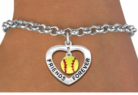 "<Br>           LEAD & NICKEL FREE!!<Br>      AN ALLAN ROBIN DESIGN!!<BR>W19912B - ""FRIENDS FOREVER""HEART  <Br>WITH SOFTBALL CHARM BRACELET <Br>    FROM $5.29 TO $11.75 �2012"