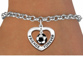 "<Br>           LEAD & NICKEL FREE!!<Br>      AN ALLAN ROBIN DESIGN!!<BR>W19913B - ""FRIENDS FOREVER""HEART  <Br>WITH SOCER CHARM BRACELET <Br>    FROM $5.29 TO $11.75 �2012"