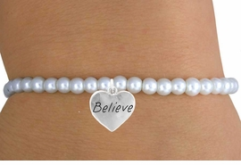 "<br>                  LEAD & NICKEL FREE!!<BR>                   EXCLUSIVELY OURS!!<Br>             AN ALLAN ROBIN DESIGN!!<br>  W14705B - CHILDREN'S FAUX PEARL<br>""BELIEVE"" HEART STRETCH BRACELET<Br>                 FROM $4.50 TO $10.00<BR>                                  �2008"