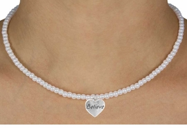 "<Br>               LEAD & NICKEL FREE!!<Br>                EXCLUSIVELY OURS!!<Br>          AN ALLAN ROBIN DESIGN!!<br>  W14706N - CHILDREN'S 13"" FAUX<br>PEARL ""BELIEVE"" HEART NECKLACE<Br>               FROM $6.19 TO $13.75"