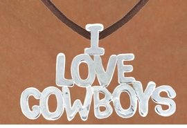 "<Br>                 LEAD & NICKEL FREE!!<Br>                  EXCLUSIVELY OURS!!<Br>            AN ALLAN ROBIN DESIGN!!<Br>W16156N - LARGE ""I LOVE COWBOYS""<Br>      BROWN SUEDE NECKLACE FROM<Br>                        $3.38 TO $7.50<BR>                                ©2010"