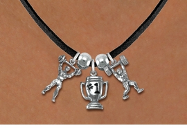 "<Br>                 LEAD & NICKEL FREE!!<Br>                  EXCLUSIVELY OURS!!<Br>            AN ALLAN ROBIN DESIGN!!<Br>   W19541N - BLACK SUEDE 3-CHARM <br>   ""WEIGHTLIFTLING"" LEATHERETTE <Br>       NECKLACE FROM $6.75 TO $15.00"