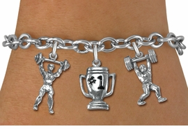 "<Br>                 LEAD & NICKEL FREE!!<Br>                  EXCLUSIVELY OURS!!<Br>            AN ALLAN ROBIN DESIGN!!<Br>   W19542B - SILVER TONE 3-CHARM <br>   ""WEIGHTLIFTLING"" TOGGLE CHAIN <Br>     BRACELET FROM $5.06 TO $11.25"
