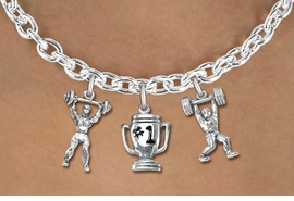 "<Br>                 LEAD & NICKEL FREE!!<Br>                  EXCLUSIVELY OURS!!<Br>            AN ALLAN ROBIN DESIGN!!<Br>     W19543N - SILVER TONE 3-CHARM <br>   ""WEIGHTLIFTLING"" TOGGLE CHAIN <Br>      NECKLACE FROM $6.19 TO $13.75"